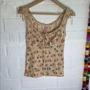 Free People Floral Crochet Knit Hem Bow Tie sz M